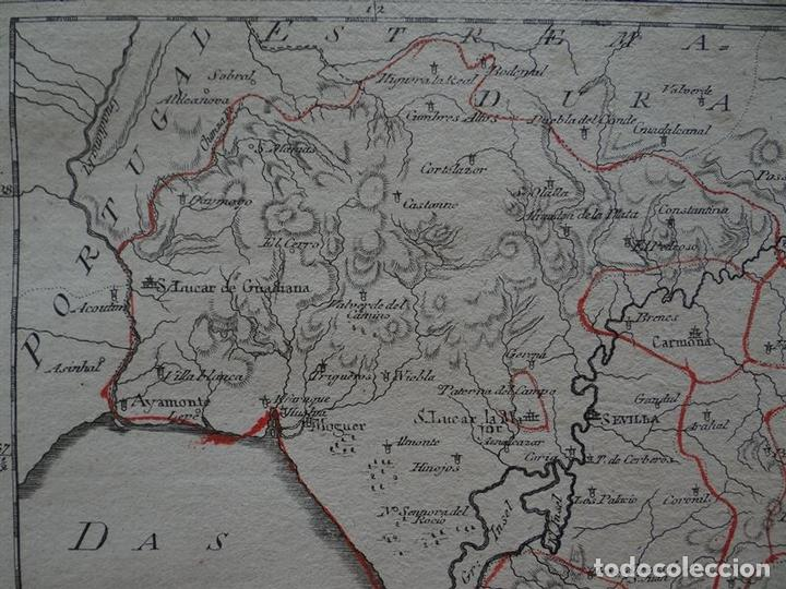 Arte: Mapa de Huelva, Cádiz, Sevilla y Gibraltar Andalucía, España),1795.Reilly - Foto 4 - 96197167
