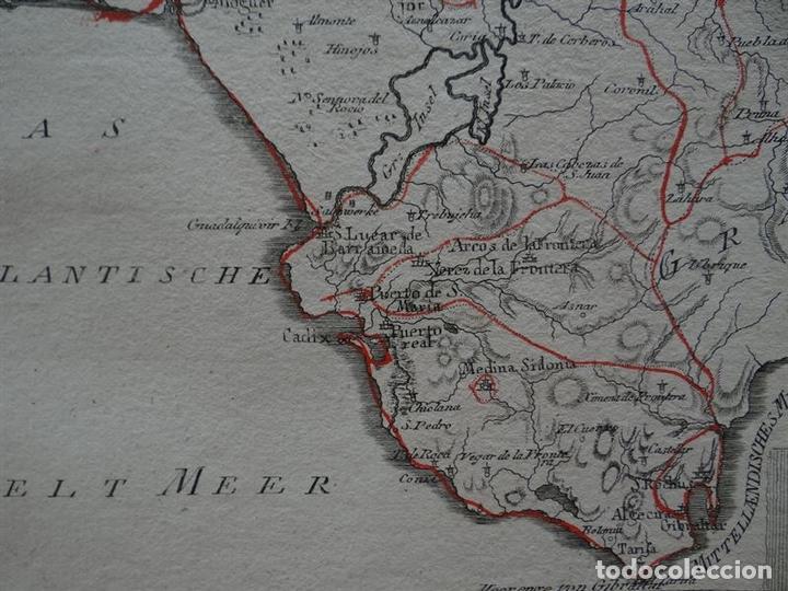 Arte: Mapa de Huelva, Cádiz, Sevilla y Gibraltar Andalucía, España),1795.Reilly - Foto 5 - 96197167