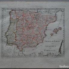 Arte: MAPA DE LA PENÍNSULA IBÉRICA : ESPAÑA Y PORTUGAL ( EUROPA ), 1795. REILLY. Lote 96409743