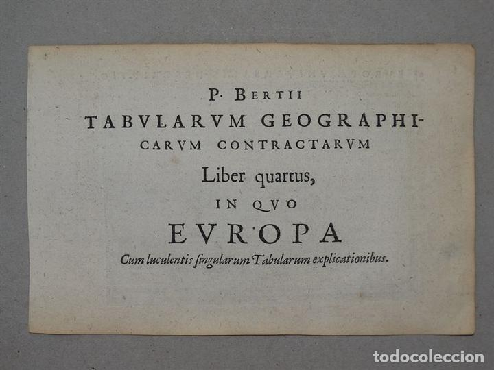 Arte: Antiguo mapa de Europa y portada del atlas, 1616. Bertius/ Hondius - Foto 8 - 97500755