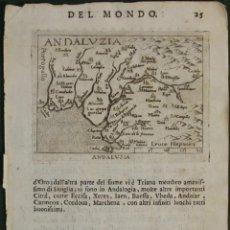 Arte: ANTIGUO MAPA DEL OESTE DE ANDALUCÍA (ESPAÑA), 1598. ORTELIUS/MARCHETTI. Lote 97967595