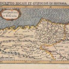 Arte: ANTIGUO MAPA DE GUIPUZCOA Y VIZCAYA (PAIS VASCO, ESPAÑA), 1616. BERTIUS /HONDIUS. Lote 97967755