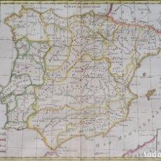 Arte: ESPAÑA Y PORTUGAL, MAPA POR R. BONNE (1780), LES ROYAUMES D´ESPAGNE ET DE PORTUGAL..... Lote 97986491