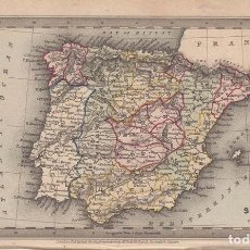 Arte: MAPA DE ESPAÑA Y PORTUGAL, 1834. STARLING/BULL. Lote 98031335