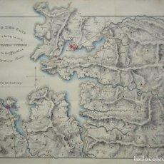Arte: PLANO DEL SIGLO XIX DE LAS RÍAS DE LA CORUÑA, BETANZOS Y FERROL EN GALICIA DE DOMINGO FONTÁN. Lote 98548303