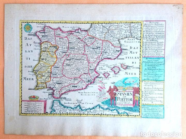 MAPA ANTIGUO ESPAÑA DEL AÑO 1750 CON CERTIFICADO DE AUTENTICIDAD. MAPAS ANTIGUOS ESPAÑA GENERAL (Arte - Cartografía Antigua (hasta S. XIX))