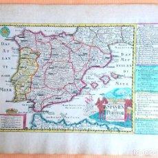 Arte: MAPA ANTIGUO ESPAÑA DEL AÑO 1750 CON CERTIFICADO DE AUTENTICIDAD. MAPAS ANTIGUOS ESPAÑA GENERAL. Lote 99028835