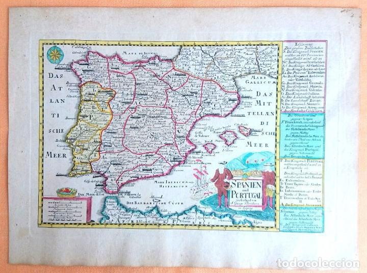 Arte: Mapa antiguo España del año 1750 con certificado de autenticidad. Mapas antiguos España general - Foto 3 - 99028835