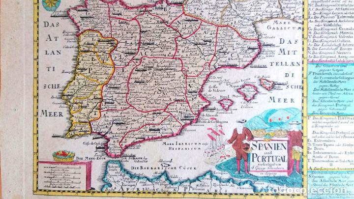 Arte: Mapa antiguo España del año 1750 con certificado de autenticidad. Mapas antiguos España general - Foto 4 - 99028835