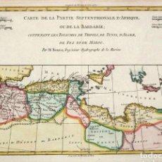 Art: MAPA 1780 NORTE DE AFRICA. CARTÓGRAFO R. BONNÉ 212 X 321 MM. Lote 99291215