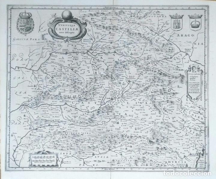 MAPA ANTIGUO CASTILLA Y LEÓN/CASTILLA LA MANCHA AÑO 1640 CON CERTIFICADO DE AUTENTICIDAD (Arte - Cartografía Antigua (hasta S. XIX))