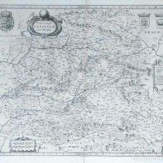 Arte: MAPA ANTIGUO CASTILLA Y LEÓN/CASTILLA LA MANCHA AÑO 1640 CON CERTIFICADO DE AUTENTICIDAD. Lote 87631996