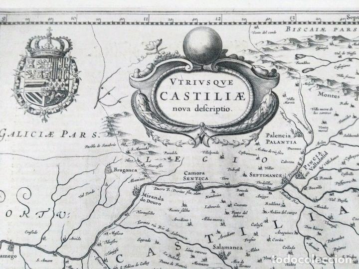 Arte: Mapa antiguo Castilla y León/Castilla la Mancha año 1640 con certificado de autenticidad - Foto 3 - 87631996