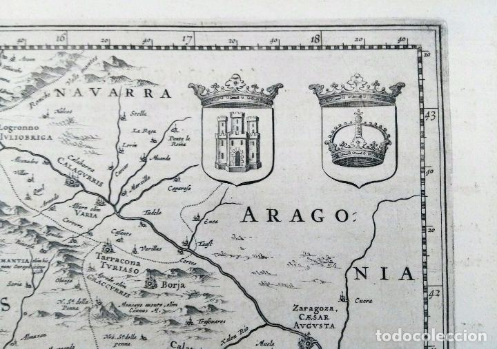 Arte: Mapa antiguo Castilla y León/Castilla la Mancha año 1640 con certificado de autenticidad - Foto 4 - 87631996