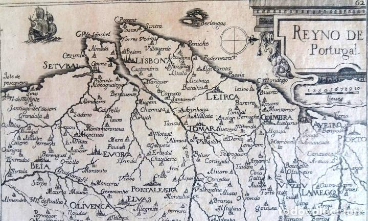 Arte: Mapa antiguo Portugal año 1640 con certificado autenticidad. Mapas antiguos Portugal - Foto 4 - 90406024