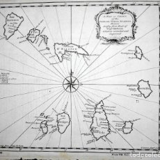 Arte: MAPA ANTIGUO ISLAS DE CABO VERDE AÑO 1744 CON CERTIF. AUTENTIC.. MAPAS ANTIGUOS CABO VERDE AFRICA. Lote 52879090