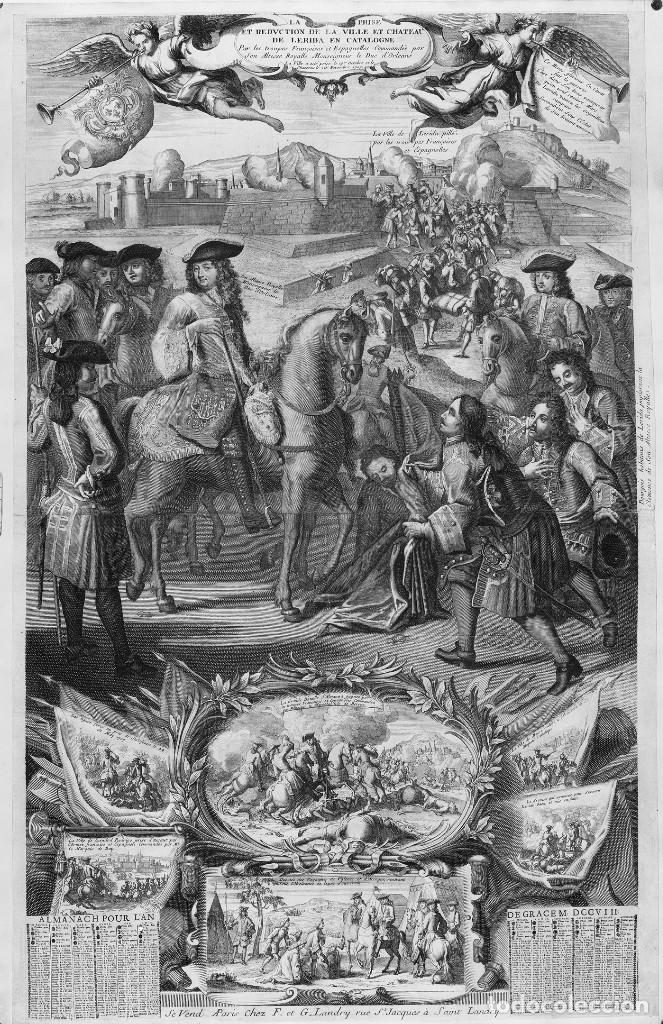 1704 / 2014 GUERRA DE SUCESIÓN TOMA DE LLEIDA LERIDA ¡ENORME! EXCELENTE REPRODUCCIÓN DE 56X89CM. (Arte - Cartografía Antigua (hasta S. XIX))