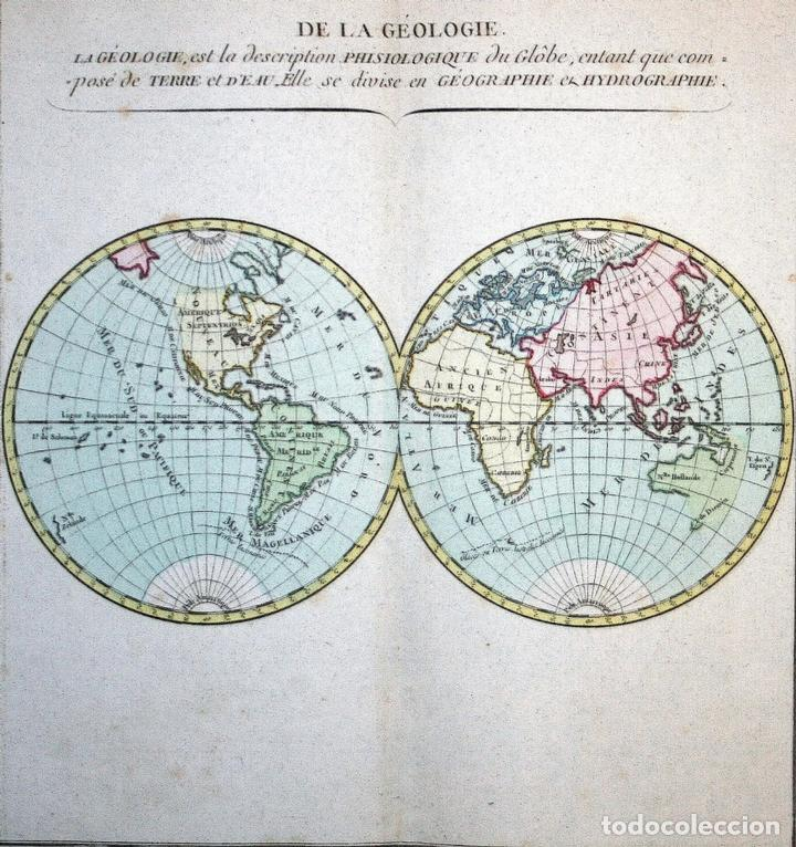 Arte: Mapa geológico del mundo, 1790. Mornas/Desnos - Foto 2 - 103637655