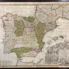 Arte: 1730. HISPANIA EX ARCHETYPO RODERICI MENDEZ SYLVAE ET VARIIS... GUILL DE L'ISLE GEOGR. SEUTTERI.. Lote 103667111