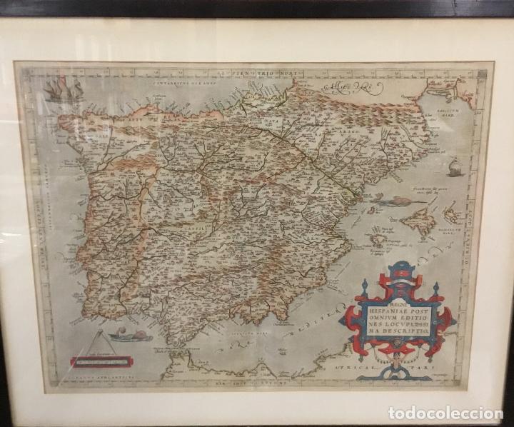 AÑO 1609. ORTELIUS. REGNI HISPANIAE POST OMNIUM EDITIONES LOCUPLE[TI]SSIMA DESCRIPTIO. (Arte - Cartografía Antigua (hasta S. XIX))