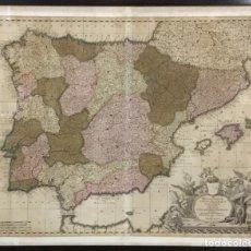 Arte: MAPA HISPANIARUM PORTUGALLIAEQUE CORONARUM TYPUS NOVUS. GERARD Y LEONARD VALK, [AMSTERDAM, 1702]. Lote 103671823