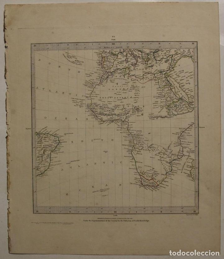 Usado, Mapa del Hemisferio oriental del mundo y África, 1831. Walker/ SDUK segunda mano