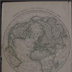 Arte: MAPA DEL MUNDO HEMISFERIO NORTE DEL MUNDO, 1850. LOWRY. Lote 104304883