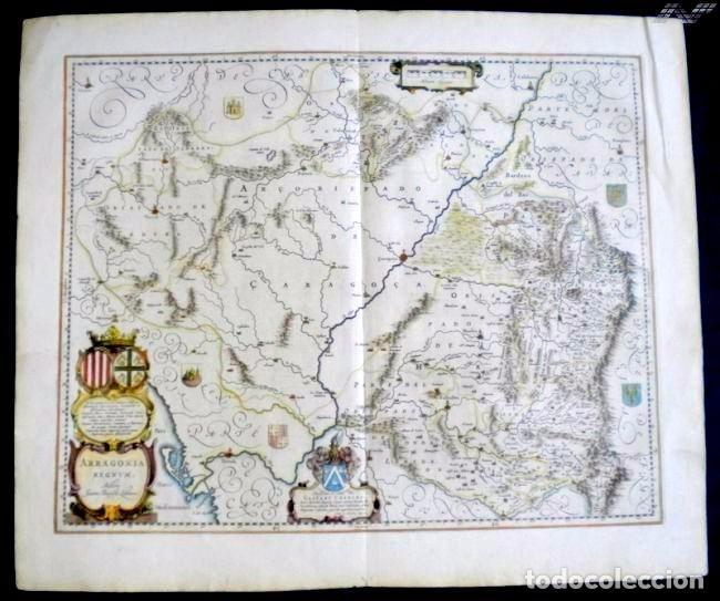MAPA ANTIGUO ARAGÓN ARRAGONIA REGNUM BLAEU 1635 CON CERTIFICADO AUTENTICIDAD. MAPAS ANTIGUOS ARAGÓN (Arte - Cartografía Antigua (hasta S. XIX))