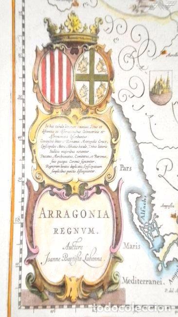 Arte: Mapa antiguo Aragón Arragonia Regnum Blaeu 1635 con certificado autenticidad. Mapas antiguos Aragón - Foto 2 - 104944299