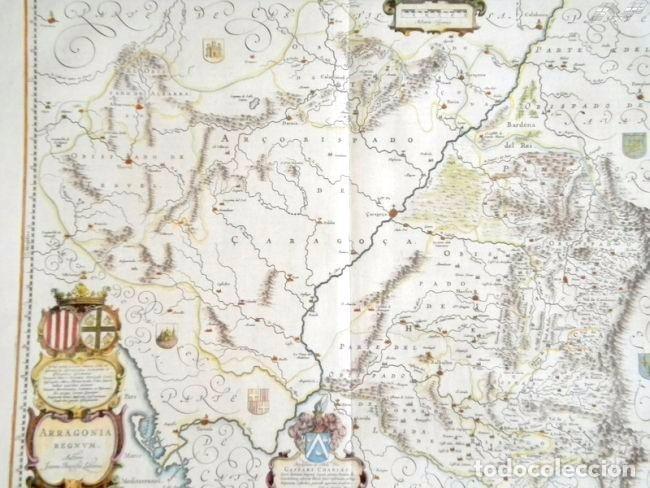 Arte: Mapa antiguo Aragón Arragonia Regnum Blaeu 1635 con certificado autenticidad. Mapas antiguos Aragón - Foto 3 - 104944299