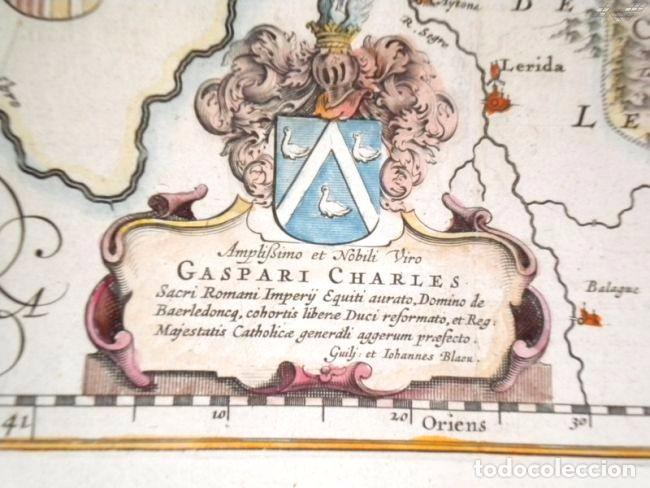 Arte: Mapa antiguo Aragón Arragonia Regnum Blaeu 1635 con certificado autenticidad. Mapas antiguos Aragón - Foto 4 - 104944299