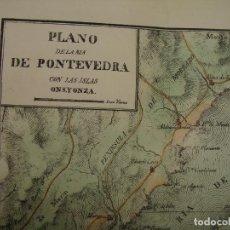 Arte: PRECIOSO PLANO DE LA RIA DE PONTEVEDRA, ONS Y ONZA 1828. ACUARELADO. 30X35 C. LITOGRAFIA PRIMITIVA.. Lote 106004779
