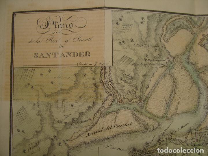PRECIOSO PLANO RÍA Y PUERTO DE SANTANDER. 1828. ACUARELADO. 24X31 CM. LITOGRAFÍA PRIMITIVA. (Arte - Cartografía Antigua (hasta S. XIX))