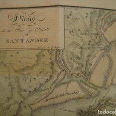 Arte: PRECIOSO PLANO RÍA Y PUERTO DE SANTANDER. 1828. ACUARELADO. 24X31 CM. LITOGRAFÍA PRIMITIVA.. Lote 106006931