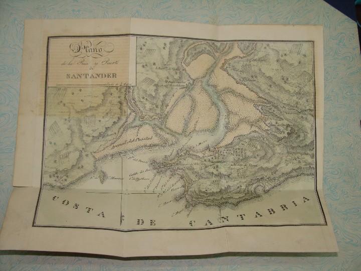 Arte: PRECIOSO PLANO RÍA Y PUERTO DE SANTANDER. 1828. ACUARELADO. 24X31 CM. LITOGRAFÍA PRIMITIVA. - Foto 2 - 106006931