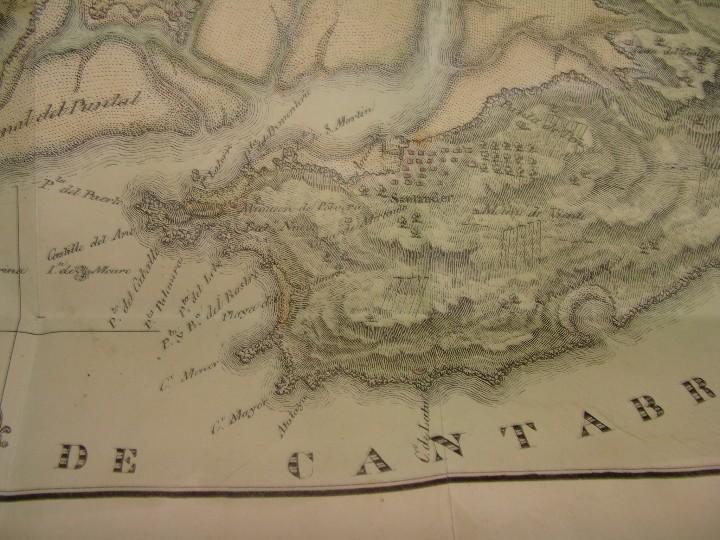 Arte: PRECIOSO PLANO RÍA Y PUERTO DE SANTANDER. 1828. ACUARELADO. 24X31 CM. LITOGRAFÍA PRIMITIVA. - Foto 3 - 106006931