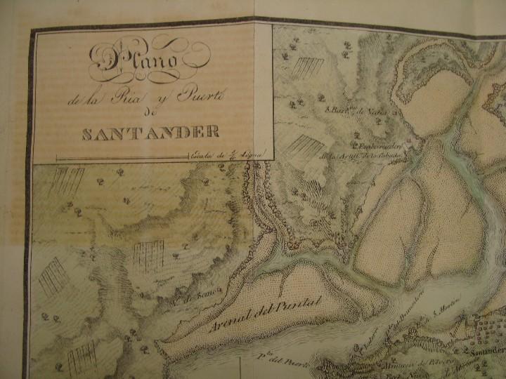 Arte: PRECIOSO PLANO RÍA Y PUERTO DE SANTANDER. 1828. ACUARELADO. 24X31 CM. LITOGRAFÍA PRIMITIVA. - Foto 4 - 106006931