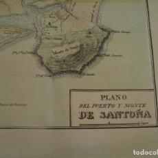 Arte: PRECIOSO PLANO DEL PUERTO Y MONTE DE SANTOÑA. 1828. ACUARELADO. 24X33 CM. LITOGRAFÍA PRIMITIVA.. Lote 106007383