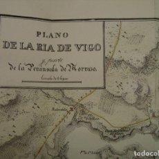 Arte: PRECIOSO PLANO DE LA RÍA DE VIGO Y PENINSULA MORRAZ 1828. ACUARELADO. 26X37CM. LITOGRAFÍA PRIMITIVA.. Lote 106007895
