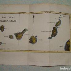 Arte: PRECIOSO MAPA DE CANARIAS. 1828. ACUARELADO. 18X26CM. LITOGRAFÍA PRIMITIVA.. Lote 106009183