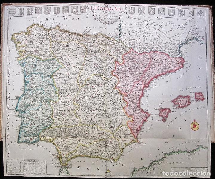 ANTIGUO GRAN MAPA DE ESPAÑA (INICIOS S. XVIII): L'ESPAGNE (POR N. DE FER) (Arte - Cartografía Antigua (hasta S. XIX))