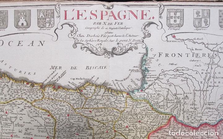 Arte: Antiguo gran mapa de España (inicios S. XVIII): LESPAGNE (por N. de Fer) - Foto 2 - 106172275