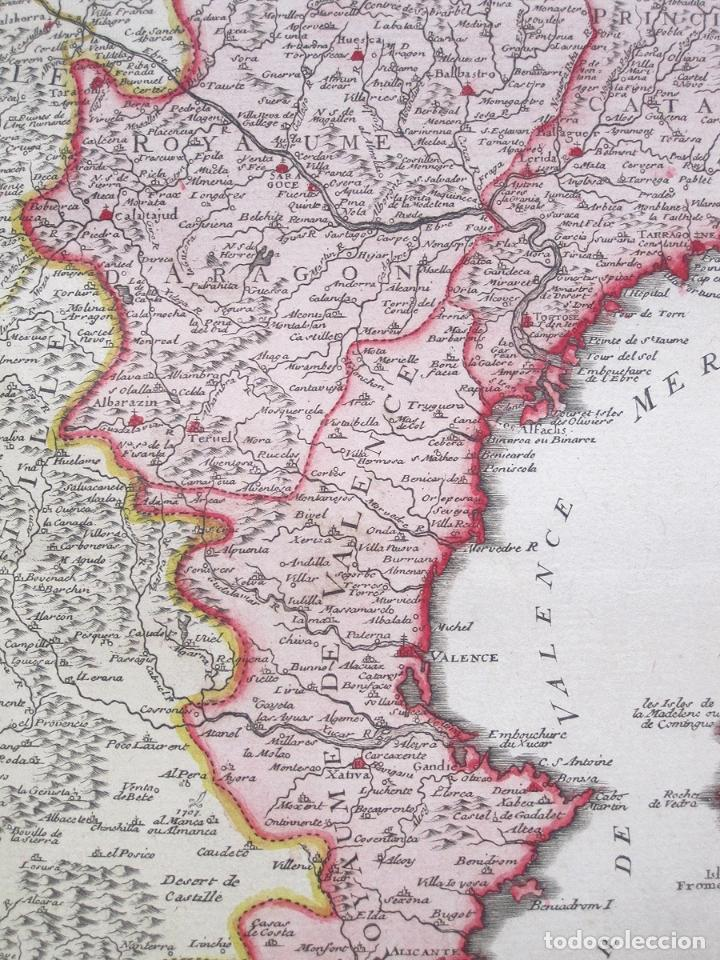 Arte: Antiguo gran mapa de España (inicios S. XVIII): LESPAGNE (por N. de Fer) - Foto 4 - 106172275