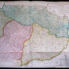 Arte: MAPA ANTIGUO DE GRAN FORMATO (S. XVIII): LES FRONTIERES DE FRANCE ET DE SPAGNE. Lote 106178427