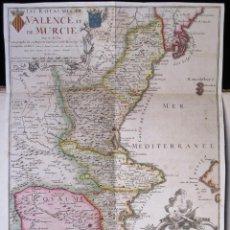 Art: MAGNÍFICO Y ANTIGUO MAPA (PRINCIPIOS S. XVIII): LES ROYAUMES DE VALENCE ET DE MURCIA (POR N. DE FER). Lote 106692627