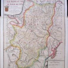 Arte: MUY ANTIGUO MAPA DEL REINO DE ARAGÓN (1706): LE ROYAUME D' ARRAGON (POR N. DE FER). Lote 106697071