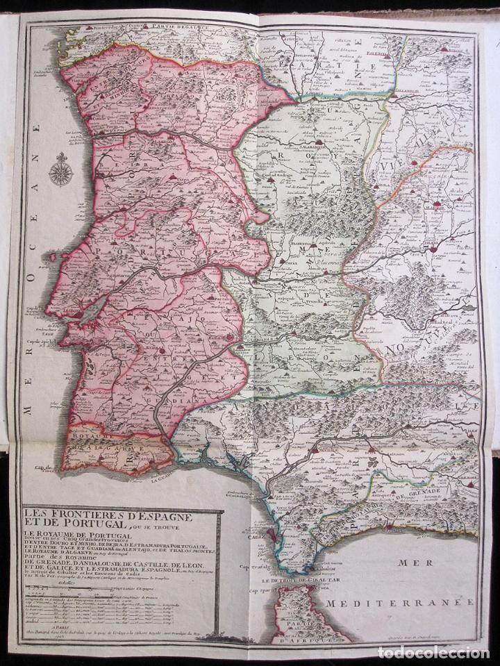 ANTIGUO MAPA DE ESPAÑA Y PORTUGAL (1742): LES FRONTIERES D'ESPAGNE ET DEPORTUGAL (POR N. DE FER) (Arte - Cartografía Antigua (hasta S. XIX))