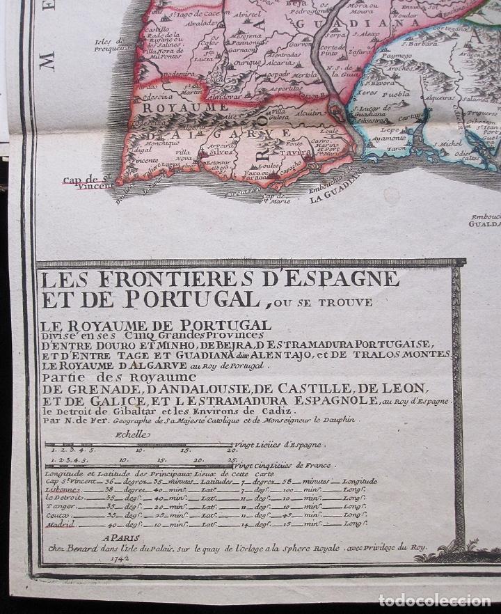 Arte: Antiguo mapa de España y Portugal (1742): LES FRONTIERES D'ESPAGNE ET DEPORTUGAL (por N. DE FER) - Foto 2 - 106699531