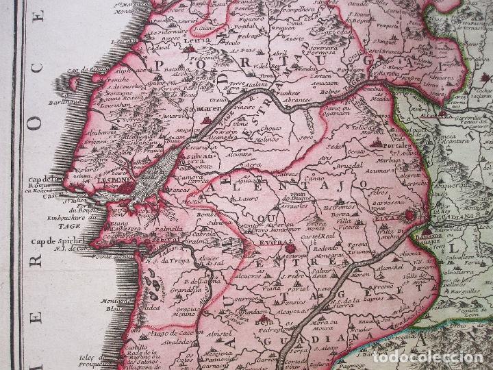 Arte: Antiguo mapa de España y Portugal (1742): LES FRONTIERES D'ESPAGNE ET DEPORTUGAL (por N. DE FER) - Foto 3 - 106699531