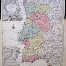 Arte: ESPLÉNDIDO Y ANTIGUO MAPA (1762) DE LOS REINOS DE PORTUGAL Y ALGARBE. Lote 106702911